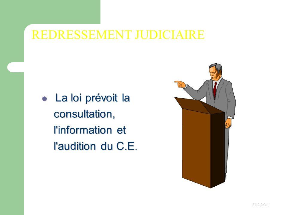 CONSULTATION DU COMITE D'ENTREPRISE Dans l'ordre économique, le comité d'entreprise est obligatoirement informé et consulté sur les questions concerna