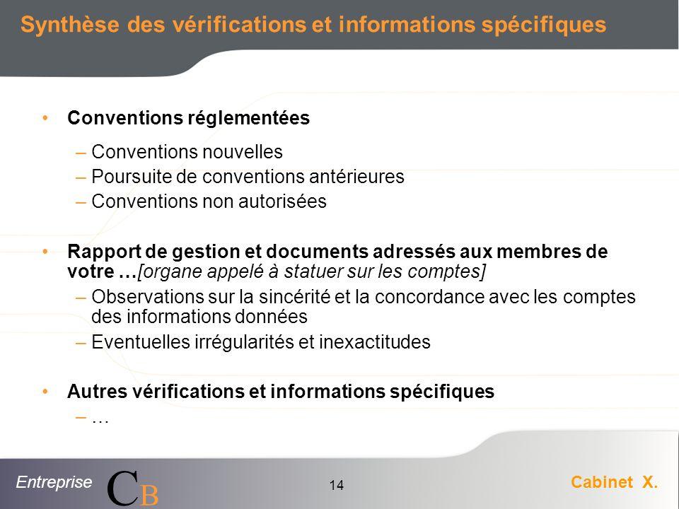 EntrepriseCabinet X. CBCB 14 Synthèse des vérifications et informations spécifiques Conventions réglementées – Conventions nouvelles – Poursuite de co