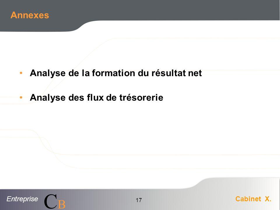 EntrepriseCabinet X. CBCB 17 Annexes Analyse de la formation du résultat net Analyse des flux de trésorerie
