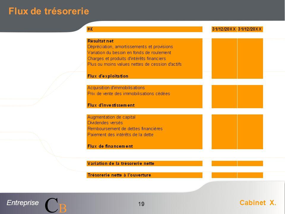 EntrepriseCabinet X. CBCB 19 Flux de trésorerie