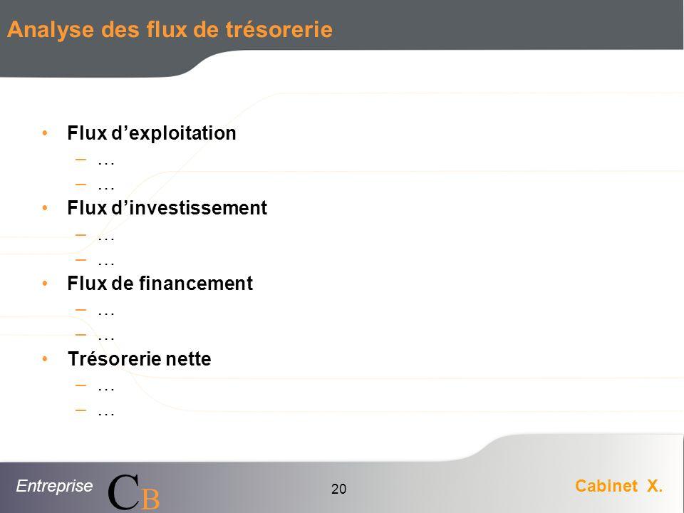 EntrepriseCabinet X. CBCB 20 Analyse des flux de trésorerie Flux dexploitation –… Flux dinvestissement –… Flux de financement –… Trésorerie nette –…