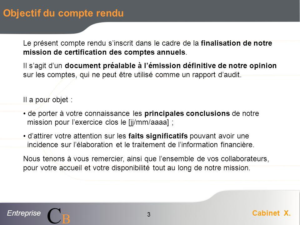 EntrepriseCabinet X. CBCB 3 Objectif du compte rendu Le présent compte rendu sinscrit dans le cadre de la finalisation de notre mission de certificati