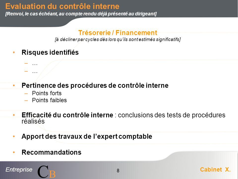 EntrepriseCabinet X. CBCB 8 Risques identifiés –… Pertinence des procédures de contrôle interne –Points forts –Points faibles Efficacité du contrôle i