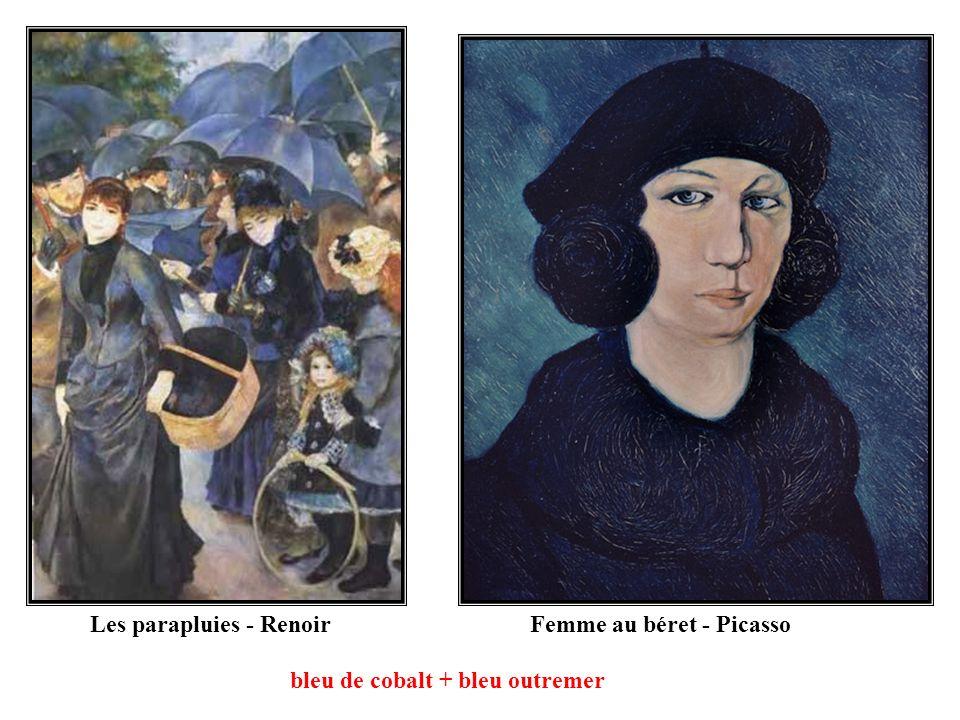 Femme au béret - PicassoLes parapluies - Renoir bleu de cobalt + bleu outremer