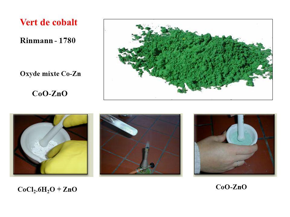 Violet de cobalt Salvetat - 1859 Co 3 (PO 4 ) 2 phosphate anhydre CoCl 2.6H 2 O + NaHPO 4.10H 2 O précipitation