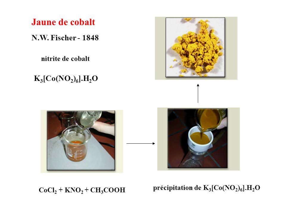 Jaune de cobalt N.W. Fischer - 1848 K 3 [Co(NO 2 ) 6 ].H 2 O nitrite de cobalt CoCl 2 + KNO 2 + CH 3 COOH précipitation de K 3 [Co(NO 2 ) 6 ].H 2 O
