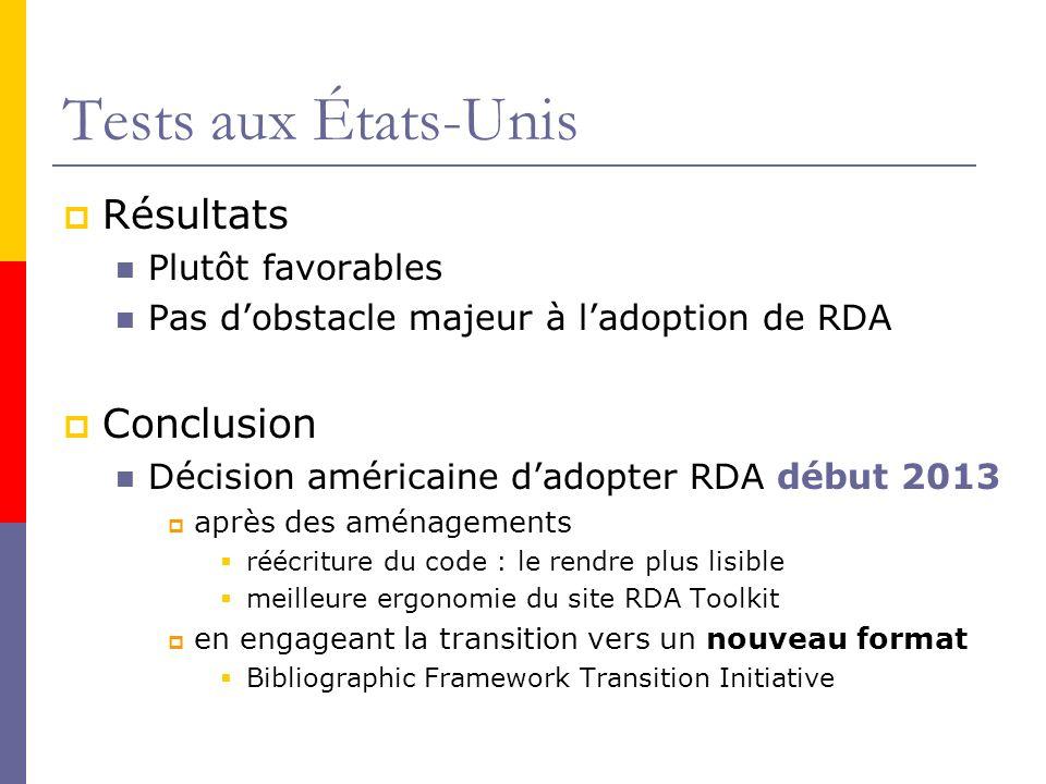Tests aux États-Unis Résultats Plutôt favorables Pas dobstacle majeur à ladoption de RDA Conclusion Décision américaine dadopter RDA début 2013 après