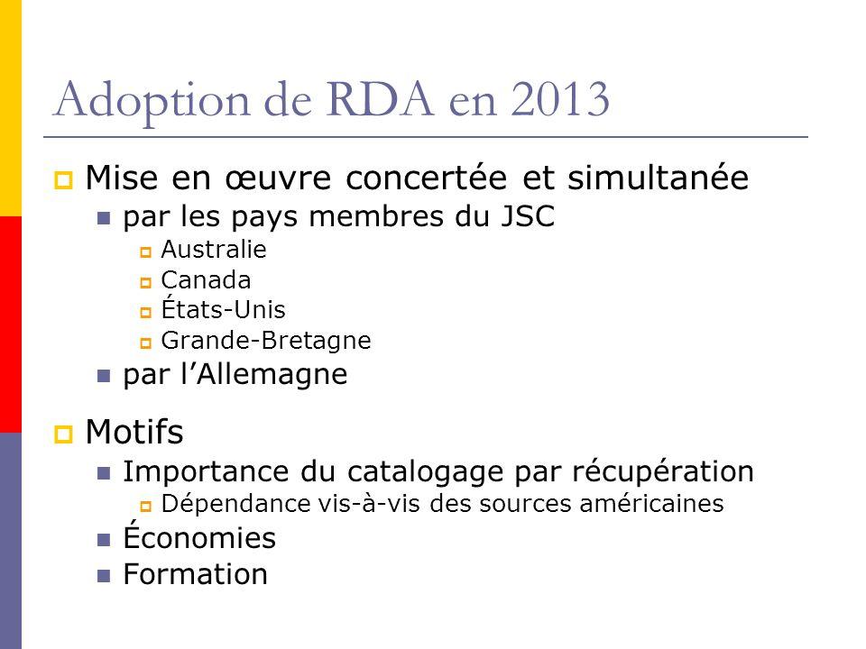 Adoption de RDA en 2013 Mise en œuvre concertée et simultanée par les pays membres du JSC Australie Canada États-Unis Grande-Bretagne par lAllemagne M