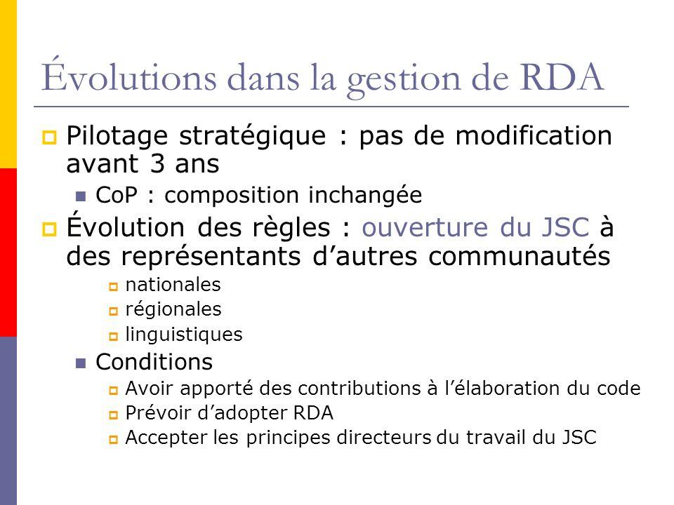 Évolutions dans la gestion de RDA Pilotage stratégique : pas de modification avant 3 ans CoP : composition inchangée Évolution des règles : ouverture