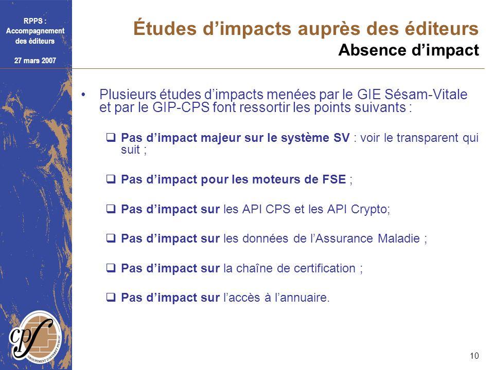 RPPS : Accompagnement des éditeurs 27 mars 2007 10 Études dimpacts auprès des éditeurs Absence dimpact Plusieurs études dimpacts menées par le GIE Sés