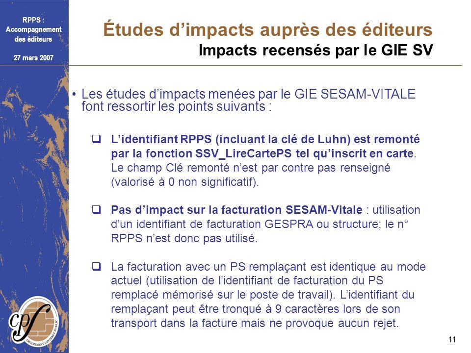 RPPS : Accompagnement des éditeurs 27 mars 2007 11 Études dimpacts auprès des éditeurs Impacts recensés par le GIE SV Les études dimpacts menées par l