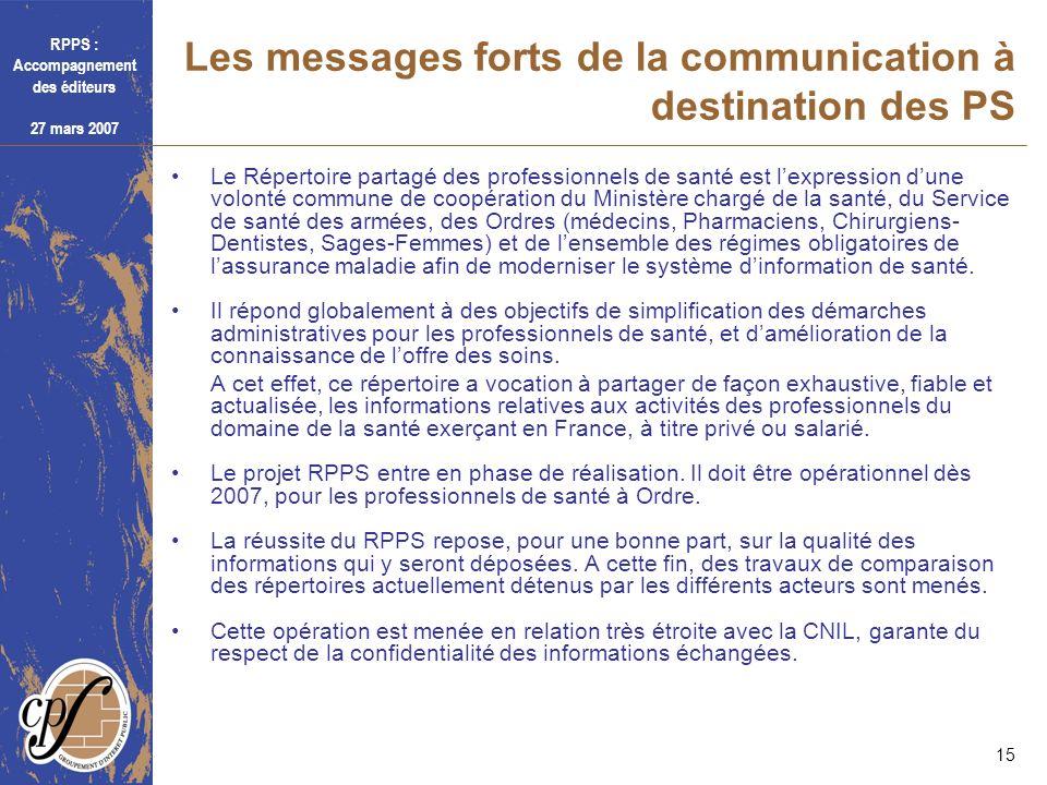 RPPS : Accompagnement des éditeurs 27 mars 2007 15 Les messages forts de la communication à destination des PS Le Répertoire partagé des professionnel