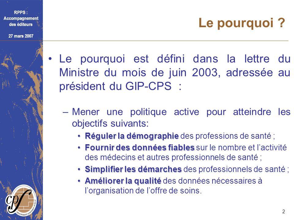 RPPS : Accompagnement des éditeurs 27 mars 2007 2 Le pourquoi ? Le pourquoi est défini dans la lettre du Ministre du mois de juin 2003, adressée au pr