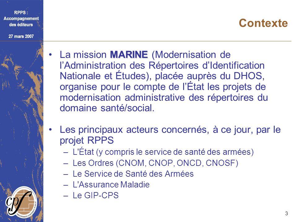 RPPS : Accompagnement des éditeurs 27 mars 2007 3 Contexte MARINELa mission MARINE (Modernisation de lAdministration des Répertoires dIdentification N