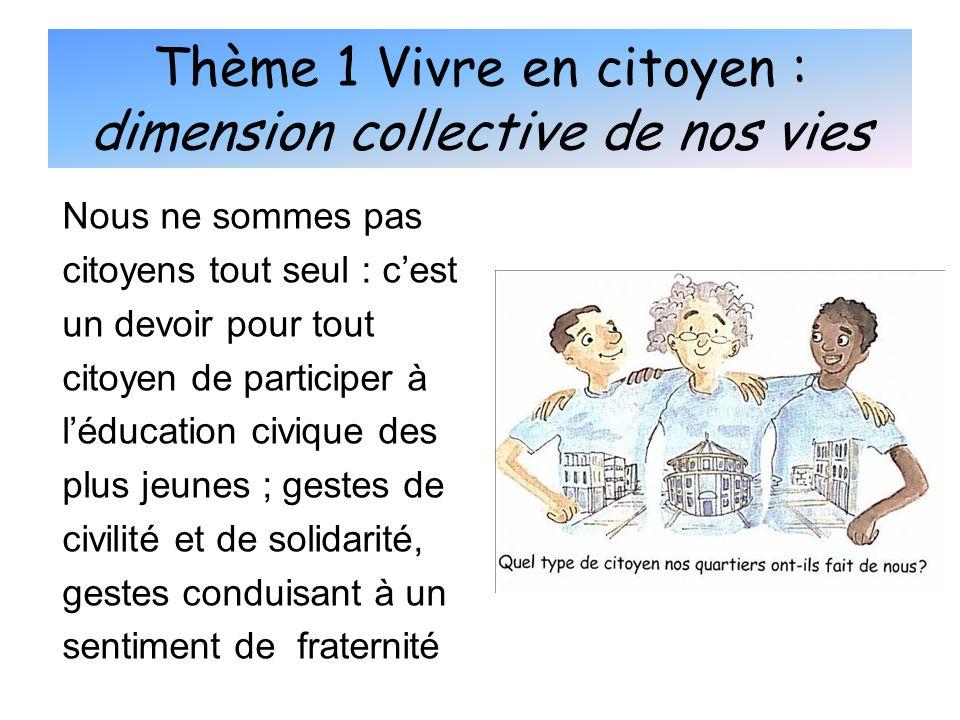 Thème 1 Vivre en citoyen : dimension collective de nos vies Nous ne sommes pas citoyens tout seul : cest un devoir pour tout citoyen de participer à l