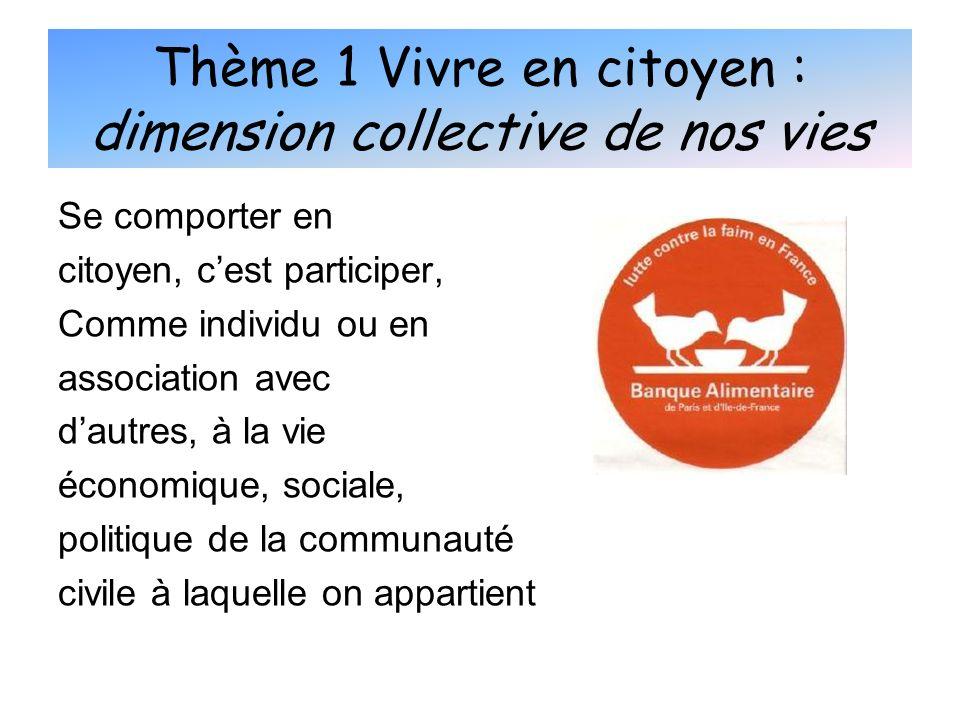 Thème 1 Vivre en citoyen : dimension collective de nos vies Se comporter en citoyen, cest participer, Comme individu ou en association avec dautres, à