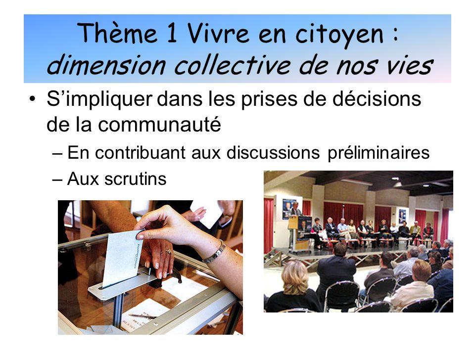 Simpliquer dans les prises de décisions de la communauté –E–En contribuant aux discussions préliminaires –A–Aux scrutins Thème 1 Vivre en citoyen : di