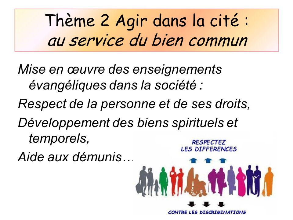 Thème 2 Agir dans la cité : au service du bien commun Mise en œuvre des enseignements évangéliques dans la société : Respect de la personne et de ses