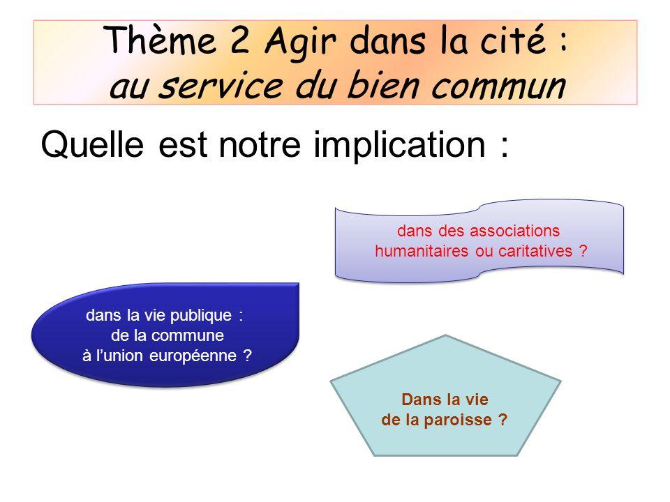 Quelle est notre implication : dans la vie publique : de la commune à lunion européenne ? dans des associations humanitaires ou caritatives ? dans des