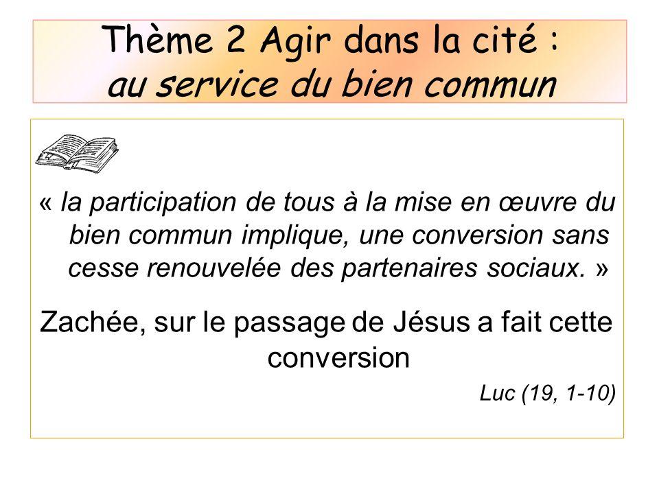Thème 2 Agir dans la cité : au service du bien commun « la participation de tous à la mise en œuvre du bien commun implique, une conversion sans cesse