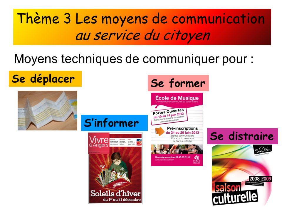 Thème 3 Les moyens de communication au service du citoyen Moyens techniques de communiquer pour : Se déplacer Sinformer Se former Se distraire