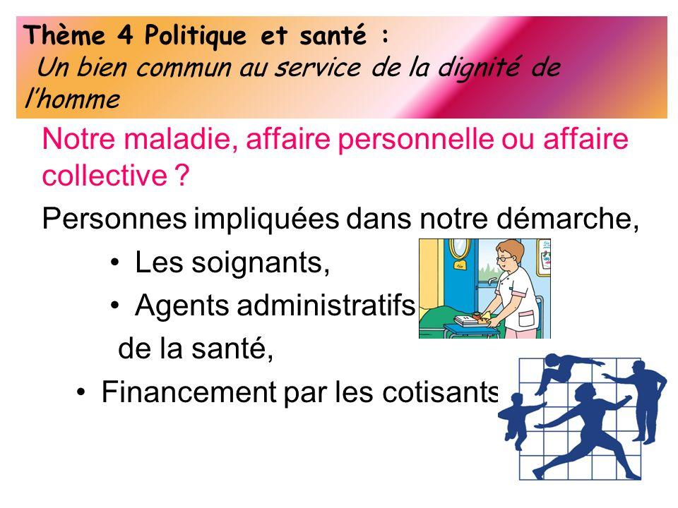 Thème 4 Politique et santé : Un bien commun au service de la dignité de lhomme Notre maladie, affaire personnelle ou affaire collective ? Personnes im