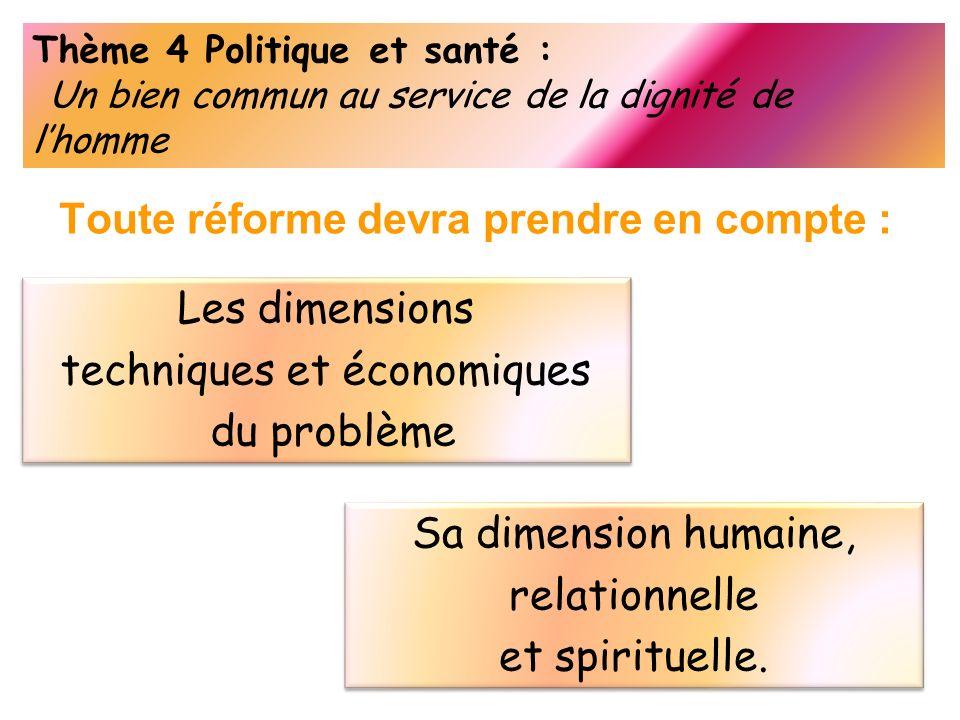 Thème 4 Politique et santé : Un bien commun au service de la dignité de lhomme Toute réforme devra prendre en compte : Les dimensions techniques et éc