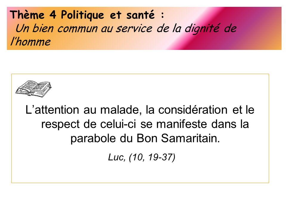 Thème 4 Politique et santé : Un bien commun au service de la dignité de lhomme Lattention au malade, la considération et le respect de celui-ci se man