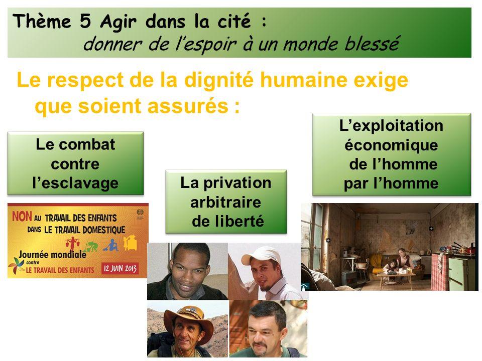 Le respect de la dignité humaine exige que soient assurés : Thème 5 Agir dans la cité : donner de lespoir à un monde blessé Le combat contre lesclavag