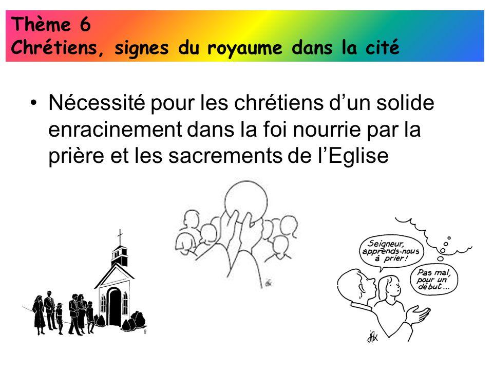 Nécessité pour les chrétiens dun solide enracinement dans la foi nourrie par la prière et les sacrements de lEglise Thème 6 Chrétiens, signes du royau
