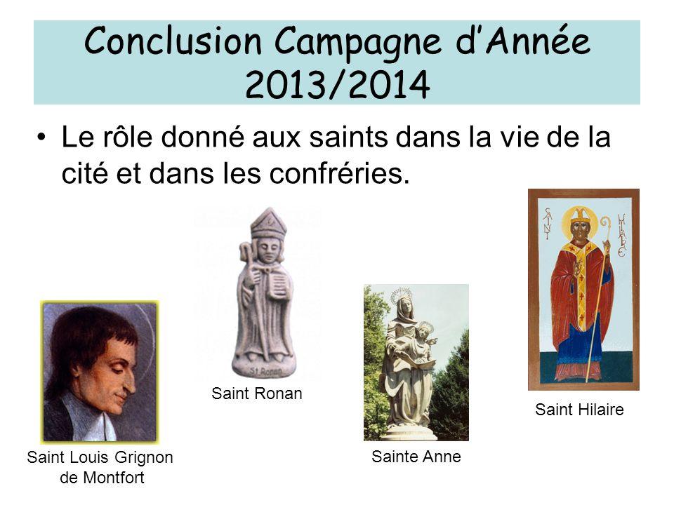 Le rôle donné aux saints dans la vie de la cité et dans les confréries. Conclusion Campagne dAnnée 2013/2014 Saint Ronan Saint Hilaire Sainte Anne Sai