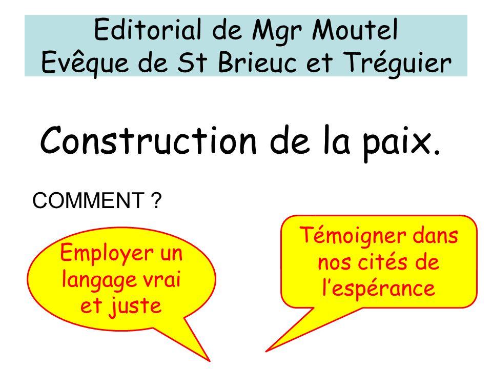 Editorial de Mgr Moutel Evêque de St Brieuc et Tréguier Employer un langage vrai et juste Témoigner dans nos cités de lespérance Construction de la pa