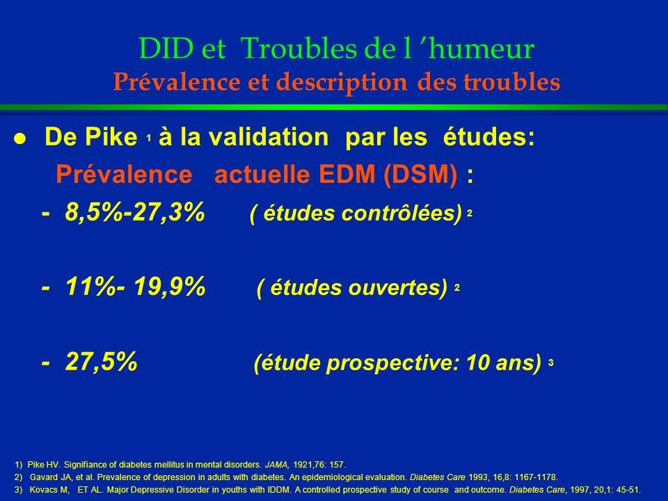 DID et Troubles de l humeur Prévalence et description des troubles l De Pike 1 à la validation par les études: Prévalence actuelle EDM (DSM) : - 8,5%-