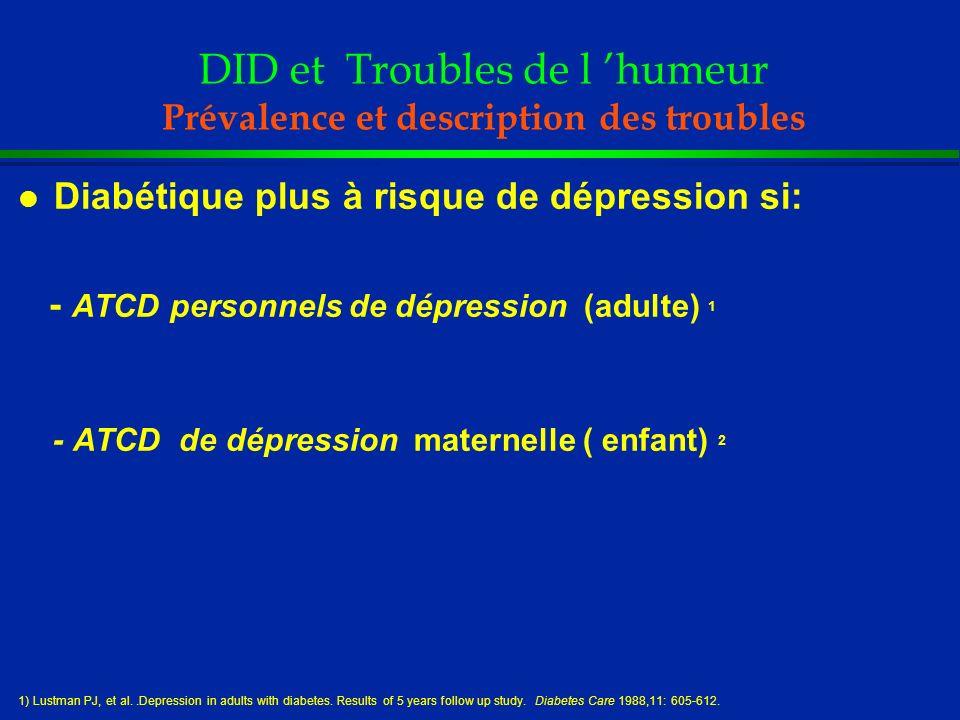 DID et Troubles de l humeur Prévalence et description des troubles l Diabétique plus à risque de dépression si: - ATCD personnels de dépression (adult