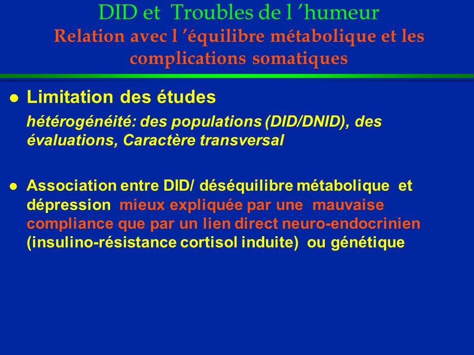 DID et Troubles de l humeur Relation avec l équilibre métabolique et les complications somatiques l Limitation des études hétérogénéité: des populatio