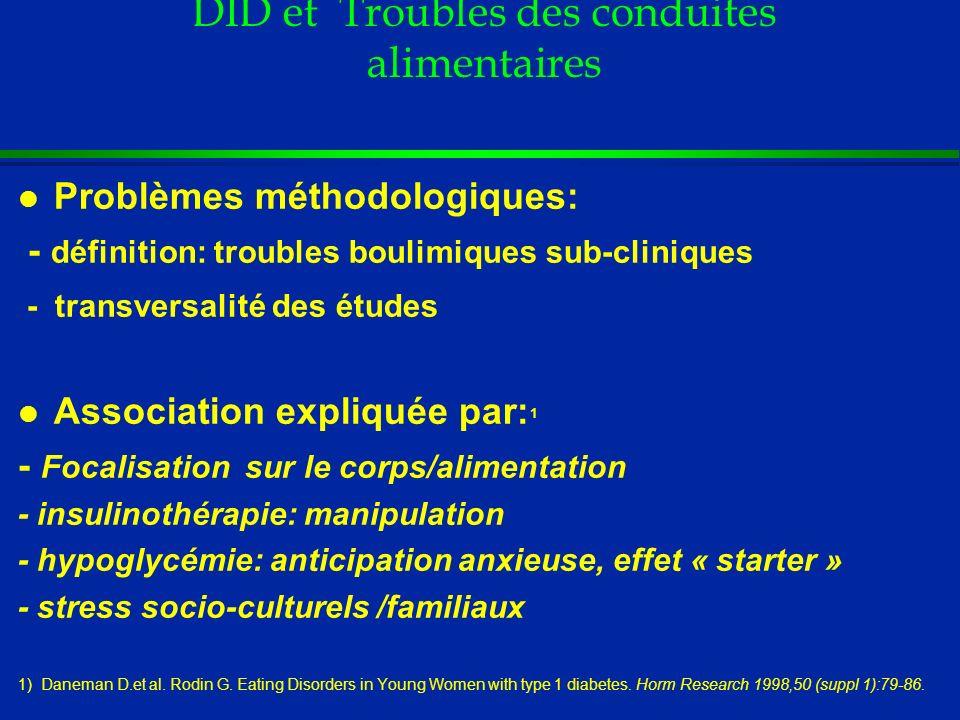 DID et Troubles des conduites alimentaires l Problèmes méthodologiques: - définition: troubles boulimiques sub-cliniques - transversalité des études l