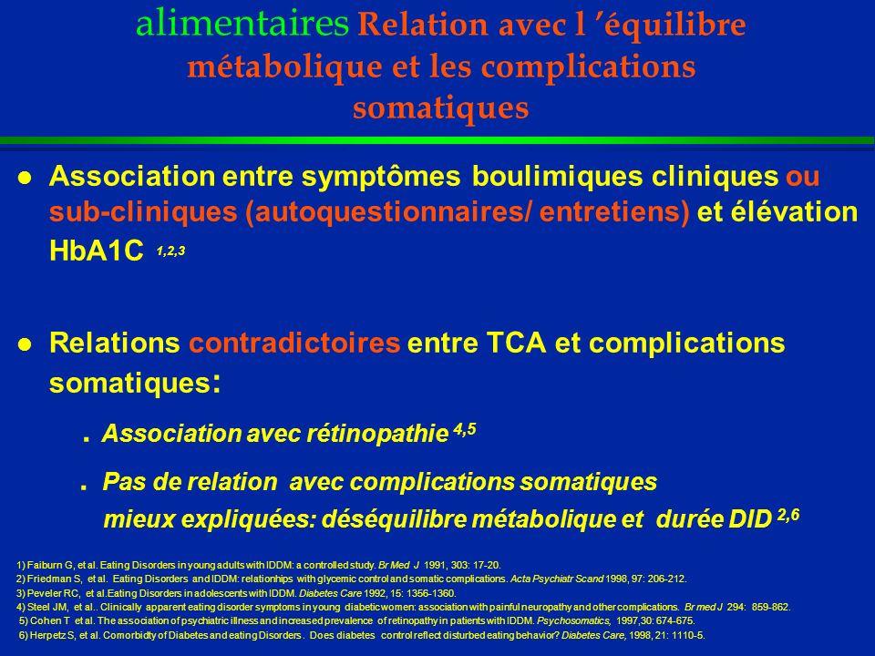 DID et Troubles des conduites alimentaires Relation avec l équilibre métabolique et les complications somatiques l Association entre symptômes boulimi