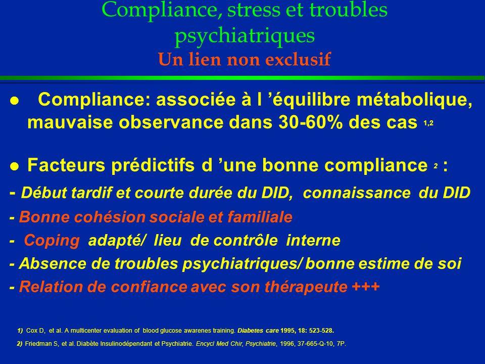 Compliance, stress et troubles psychiatriques Un lien non exclusif l Compliance: associée à l équilibre métabolique, mauvaise observance dans 30-60% d
