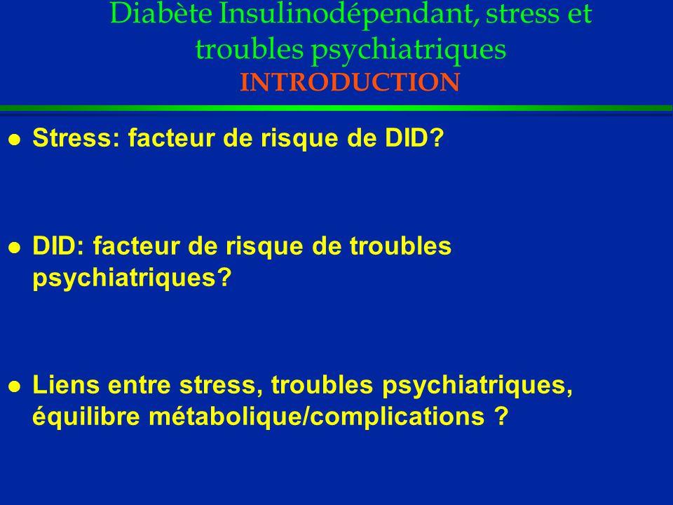DID et Troubles de l humeur Relation avec l équilibre métabolique et les complications somatiques l Dépression associée au déséquilibre métabolique (HbA1C) d autant plus que : - Méthode dhétéro-évaluation (DIS, PSE, SADS-LA) 1,2,3 - Dépression actuelle et /ou chronique 1,2,3 l Dépression : favorise (?) des complications à type de macropathie mais surtout rétinopathie 4 1) L ustman PJ et al.