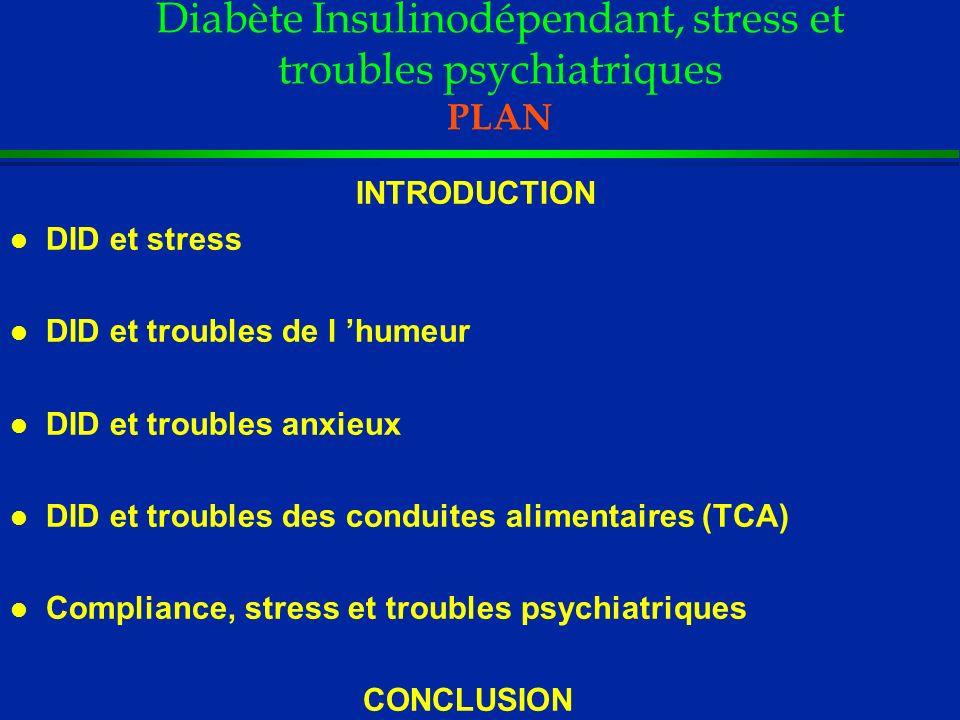 Diabète Insulinodépendant, stress et troubles psychiatriques Conclusion l Stress - Pas d arguments formels : facteur de risque de DID - Rôle probable si stress répétés : hyperglycémies transitoires, troubles psychiatriques (dépression/anxiété généralisée) l Troubles psychiatriques - Fréquents dans le DID surtout sur un mode sub- clinique, chronique - Associés au déséquilibre métabolique (compliance)/complications