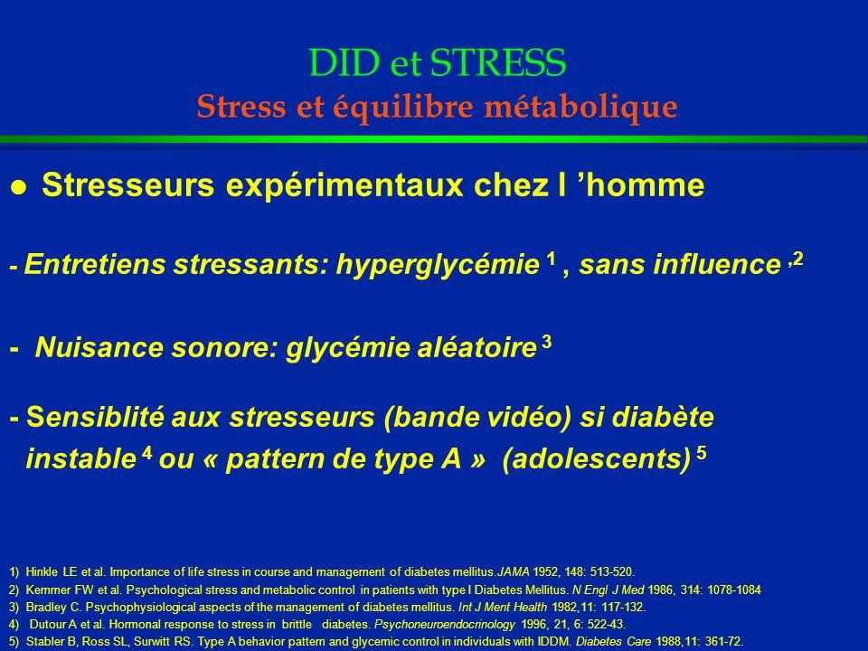 DID et STRESS Stress et équilibre métabolique l Stresseurs expérimentaux chez l homme - Entretiens stressants: hyperglycémie 1, sans influence,2 - Nui