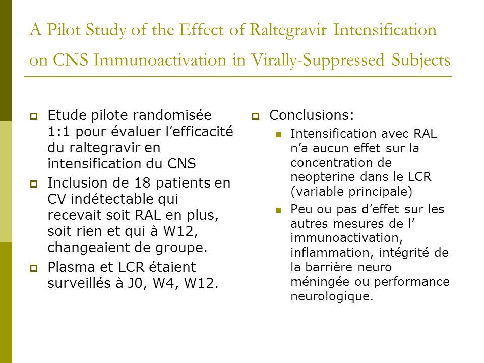 Pharmacokinetics of once-daily raltegravir/atazanavir in HIV-1 infected patients Petite étude de PK chez 19 patients Inclus en CV indétectable Deux périodes: 2 semaines ATZ+3TC+ RAL en BID, puis à W2 passage du RAL en QD Résultats: Bonne efficacité et équivalence en PK