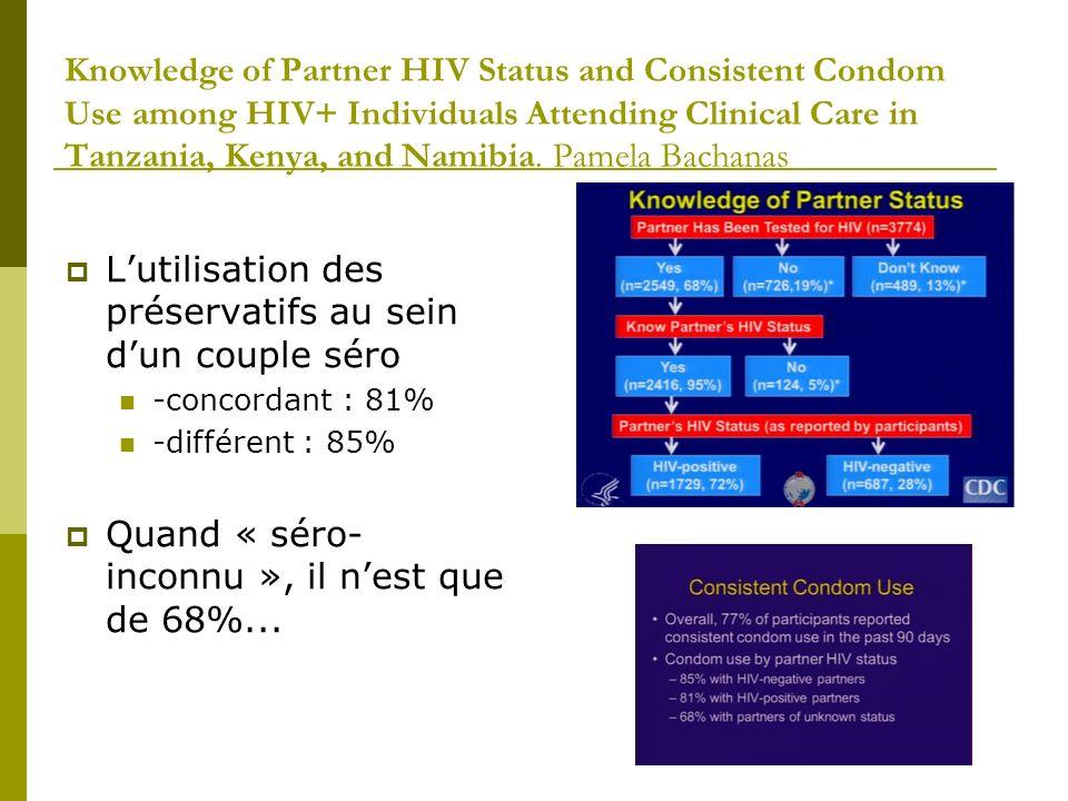 Effect of HIV Diagnosis Disclosure on Psycho-Social Outcomes in Children Receiving HIV Care in Pediatric HIV Clinics in Bangkok, Thailand 80% (79/98) des enfants > 7 ans pas informé de leur diagnostic N=169, âge moyen 11.7 Après annonce, mesures à M2 et M6: Child Depression Inventory(CDI), Pediatric Quality of Life Inventory (PedsQL 4.0)TM, Child Behavior Checklist (CBCL) Résultats: Amélioration du score de dépression Amélioration du score qualité de vie Pas dimpact comportemental Une étude chez des enfants en Côte dIvoire a même montré une amélioration de la survie après Initiation des ARV si annonce…poster 696