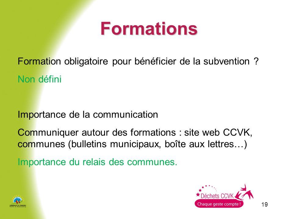 19 Formations Formation obligatoire pour bénéficier de la subvention ? Non défini Importance de la communication Communiquer autour des formations : s