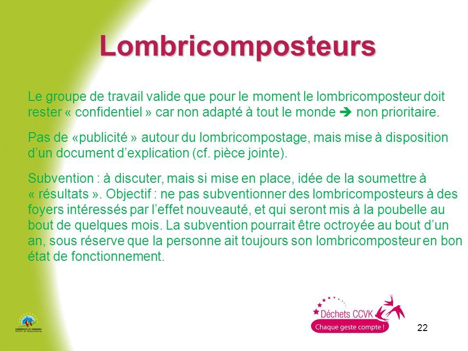22 Lombricomposteurs Le groupe de travail valide que pour le moment le lombricomposteur doit rester « confidentiel » car non adapté à tout le monde non prioritaire.