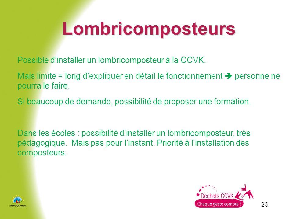 23 Lombricomposteurs Possible dinstaller un lombricomposteur à la CCVK. Mais limite = long dexpliquer en détail le fonctionnement personne ne pourra l