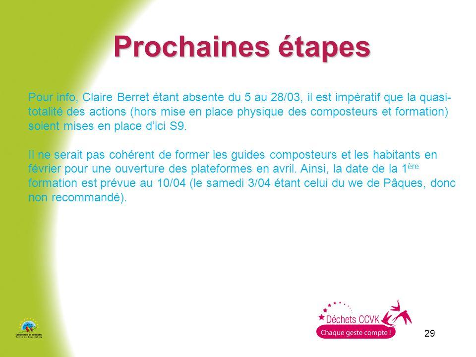 29 Prochaines étapes Pour info, Claire Berret étant absente du 5 au 28/03, il est impératif que la quasi- totalité des actions (hors mise en place phy