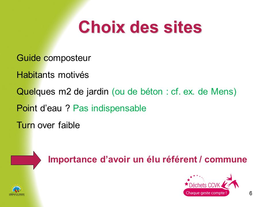 6 Choix des sites Guide composteur Habitants motivés Quelques m2 de jardin (ou de béton : cf.