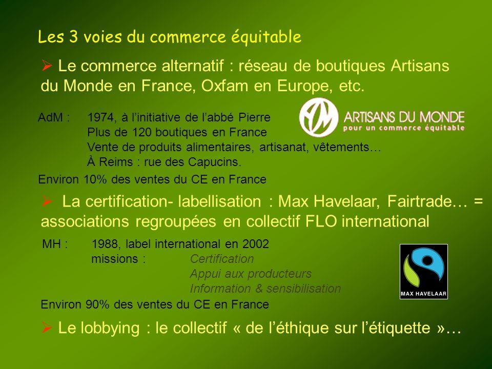 Les 3 voies du commerce équitable Le commerce alternatif : réseau de boutiques Artisans du Monde en France, Oxfam en Europe, etc. La certification- la