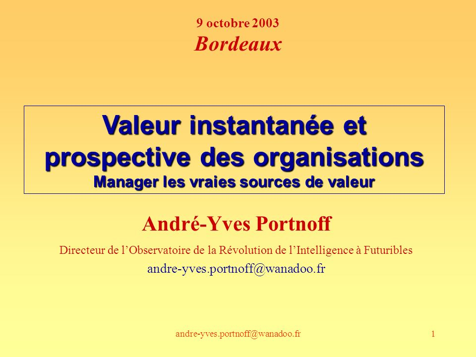 andre-yves.portnoff@wanadoo.fr142 actionnaires direction Règlesinfrastructures Employés potentiels Clients Fournisseurs Intelligence collective Capital relationnel